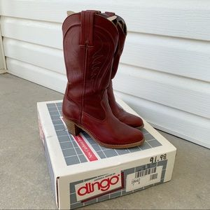 Vintage 90's Burgundy Leather Cowboy Boots